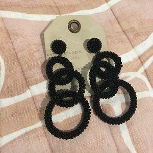 Black Beaded Circle Anthropologie Earrings